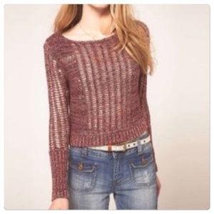 Free People Open Knit Goccia Crop Sweater XS